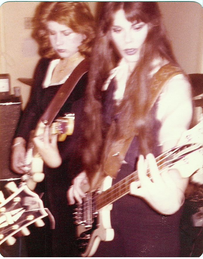 Margo and Patricia rehearsing with Femme Fatale, 1975/76.