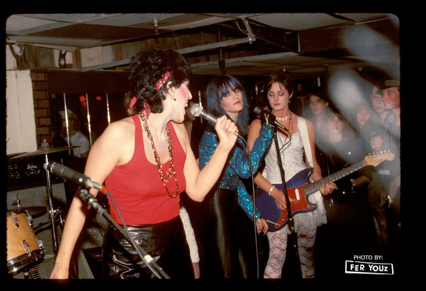 Alice Bag, Mary Bat Thing (Dinah Cancer) and Tracy Lea with The Cambridge Apostles (Castration Squad offshoot band).Cathay de Grande circa 1982, photo by Fer Youz.