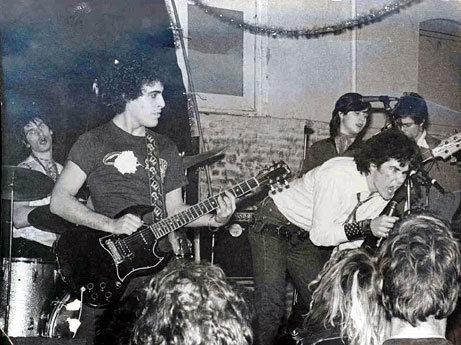 "Nicky Beat and ""Heavy Friends"": early L.A. punk rock ""super group"" featuring Stan Lee (Dickies), Nicky Beat (Weirdos), Darby Crash (Germs), Paul Roessler (Screamers) and Kira Roessler (pre-Black Flag). Photo by Al Flipside"