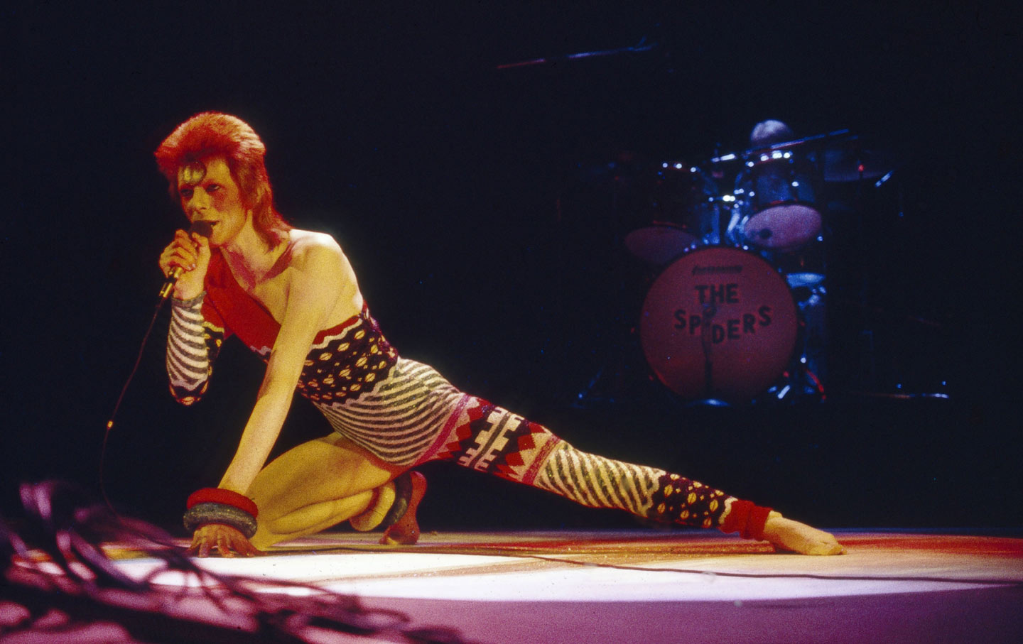 David Bowie at the Hammersmith Odeon, 1973 - Ziggy Stardust and the Spiders from Mars tour, photo via Associated Press.