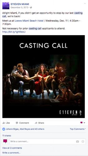 E11even Miami Facebook Recruitment