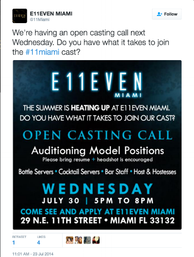 Twitter E11even Miami Casting Call
