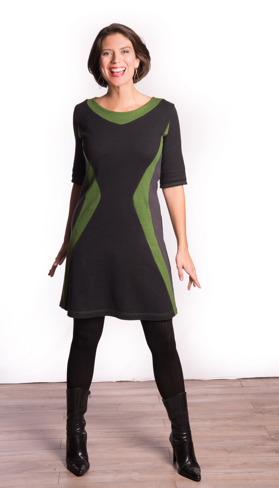 Feel like you are ready to explore the Universe in Vivid Element's Black Starship Dress, available with hand dyed Leaf Green Trim or Mars Red Trim.  $178