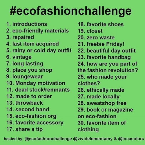 eco fashion challenge calendar for April 2017