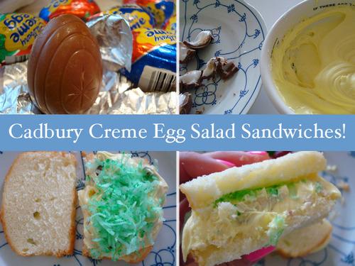 Cadbury creme egg salad sandwiches