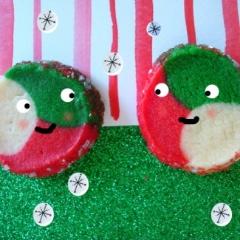 Kaleidoscope cookies in holiday hues