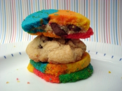 Rainbow cookies stuffed with chocolate chip cookie dough