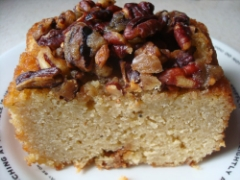 Brown sugar ginger cream cake with pears and five spice pecans