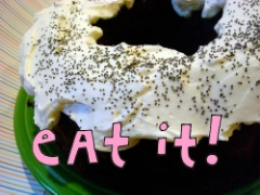 Chocolate beet cake with creme fraiche frosting