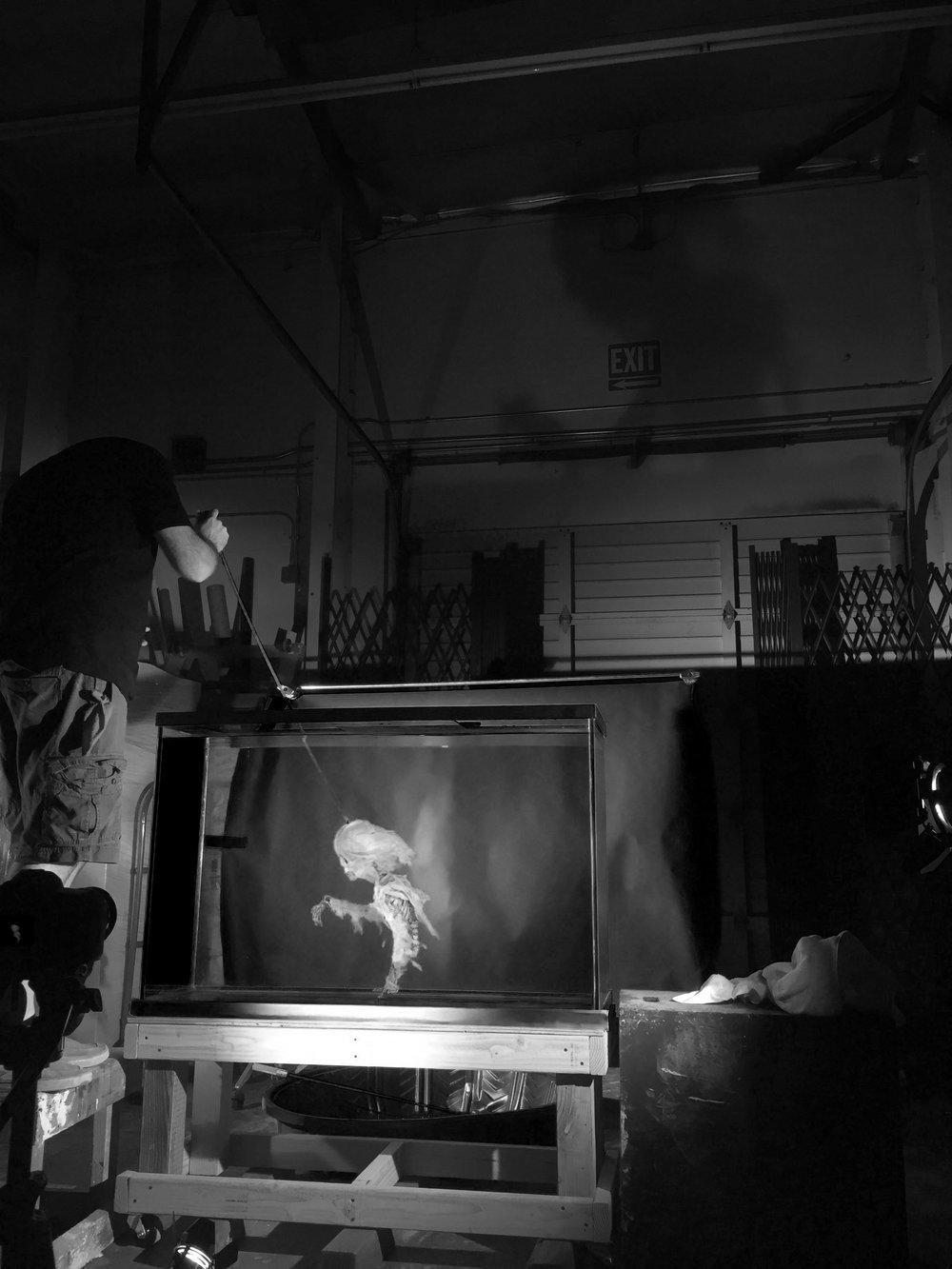 Jon Miller puppeteering the ghost