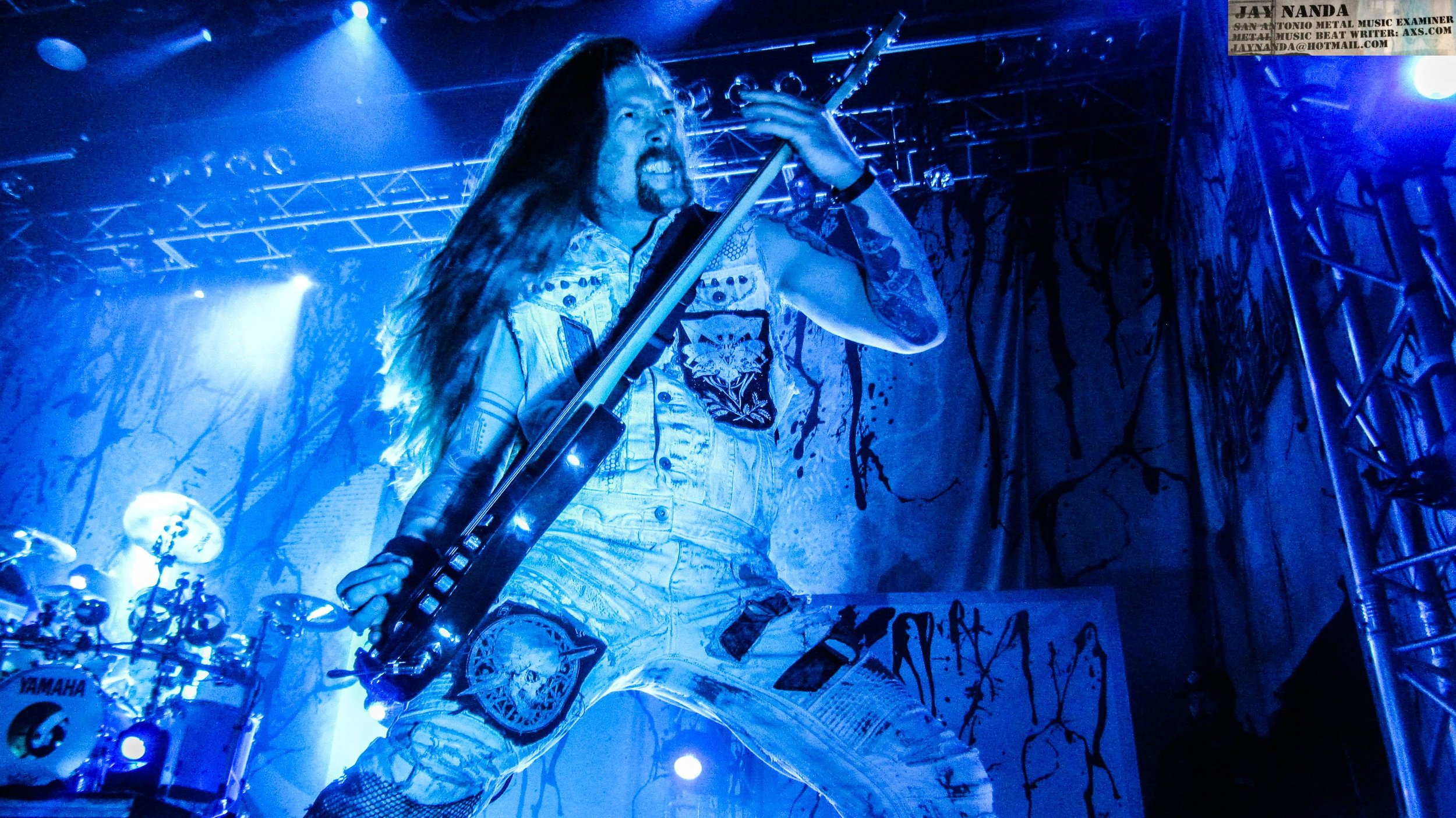 Bassist Jared MacEachern was a picture of intensity as Machine Head headlined the Aztec Theatre on Monday night, only the fourth show into its U.S. tour.