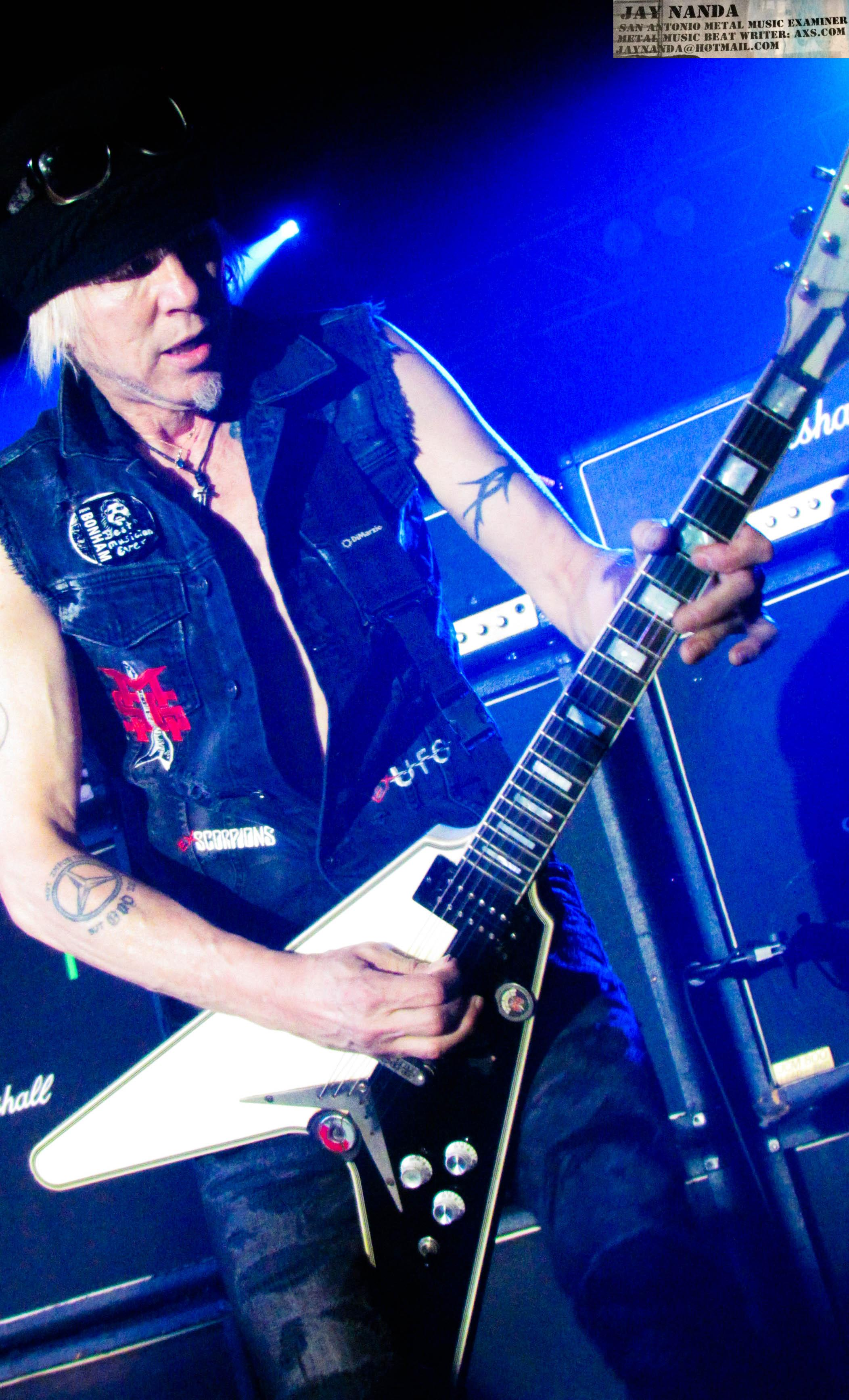 Click the appropriate link within to watch ATM's exclusive pre-show interview with Schenker, to which he also brought along this Dean Flying-V guitar.