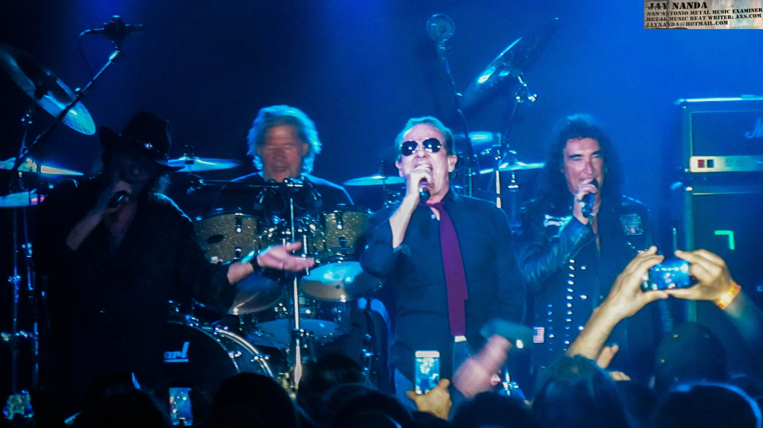 Singers Gary Barden (from left), Graham Bonnet and Robin McAuley join drummer Ted McKenna in performing one of 30 songs on the night.