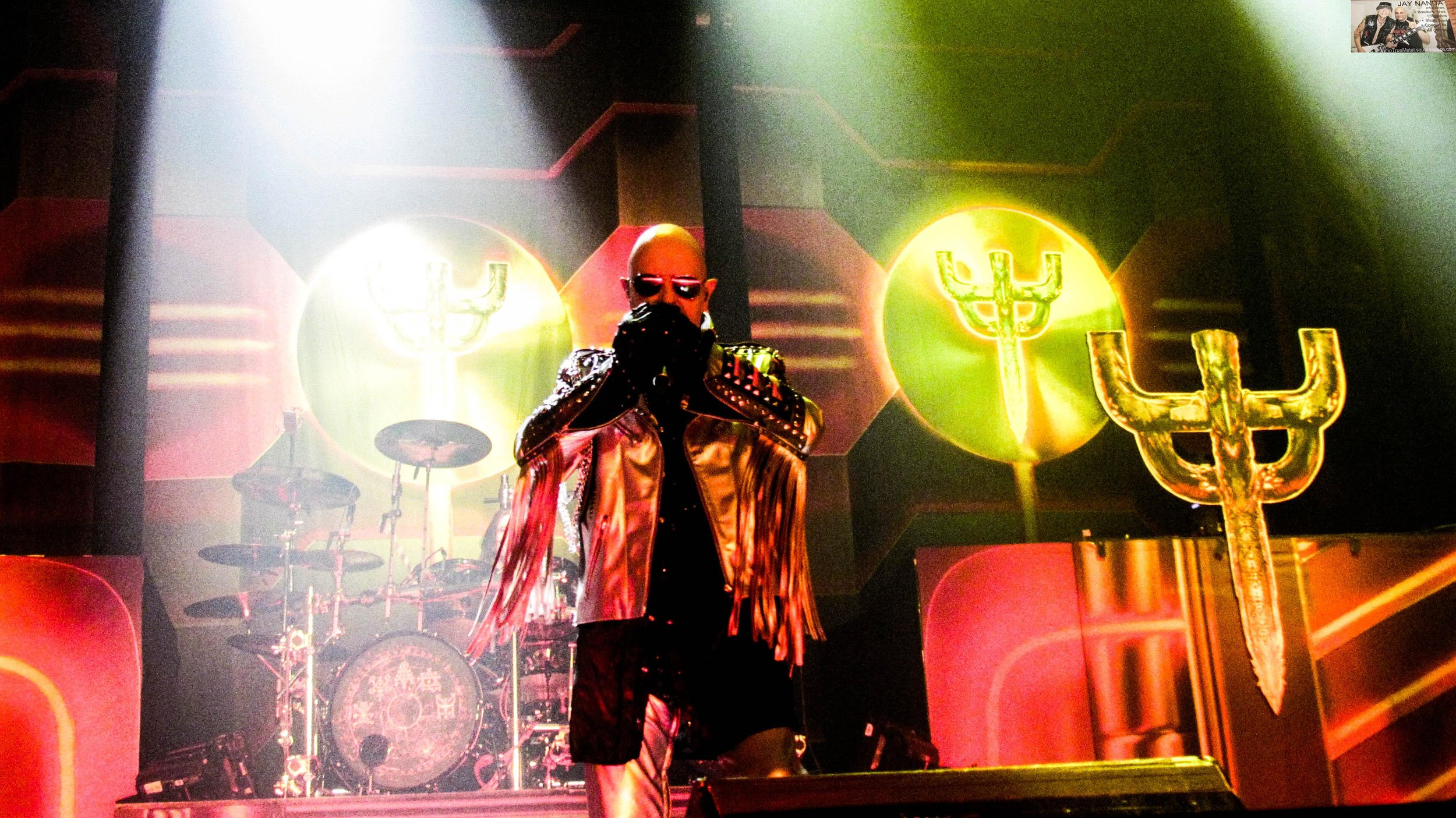 """""""The Metal God,"""" vocalist Rob Halford, hits the stage to """"Firepower."""""""