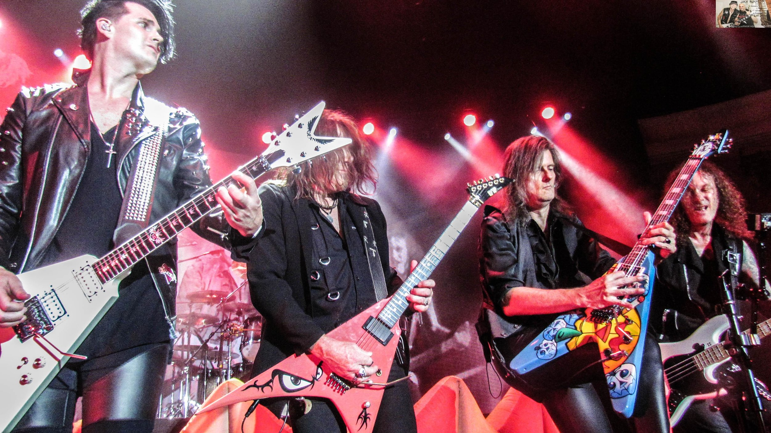 """Helloween's """"Pumpkins United"""" tour stopped at the Hollywood Palladium in Los Angeles last Saturday night, with guitarists (from left) Sascha Gerstner, Kai Hansen, Michael Weikath and bassist Markus Grosskopf coming together on opening track """"Halloween."""""""
