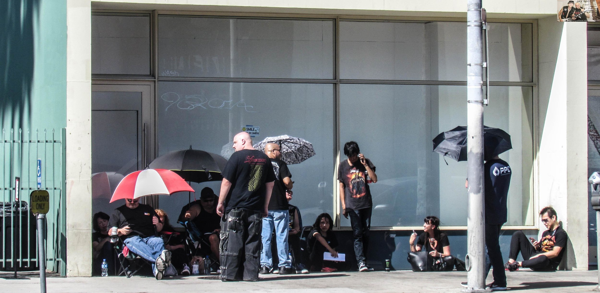 Fans line up at the Palladium four hours before the doors open for Helloween's 2-hour, 40-minute performance.