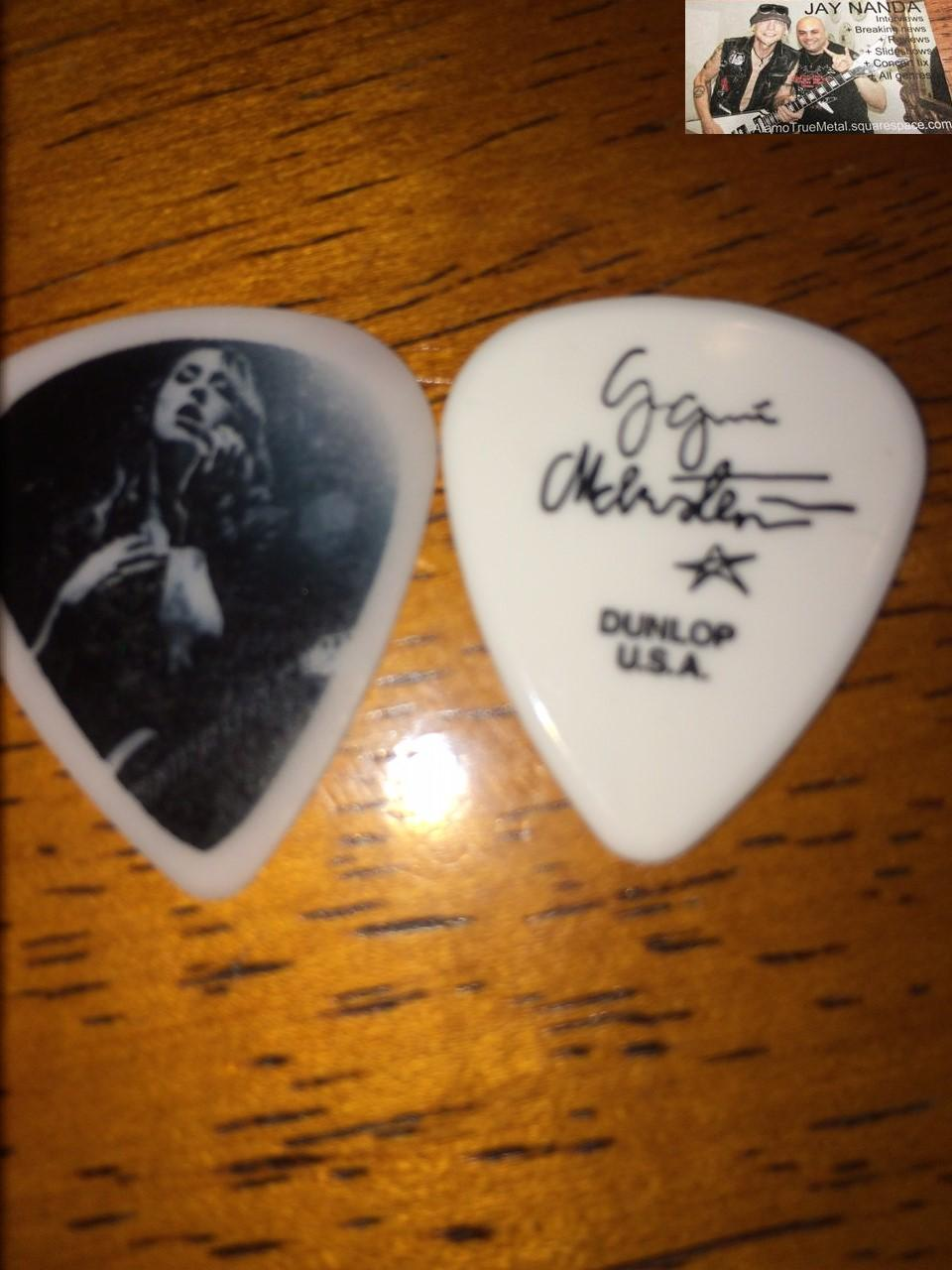 Guitar pics of Paralandra singer/guitarist Casandra Carson (left) and of the maestro Yngwie Malmsteen