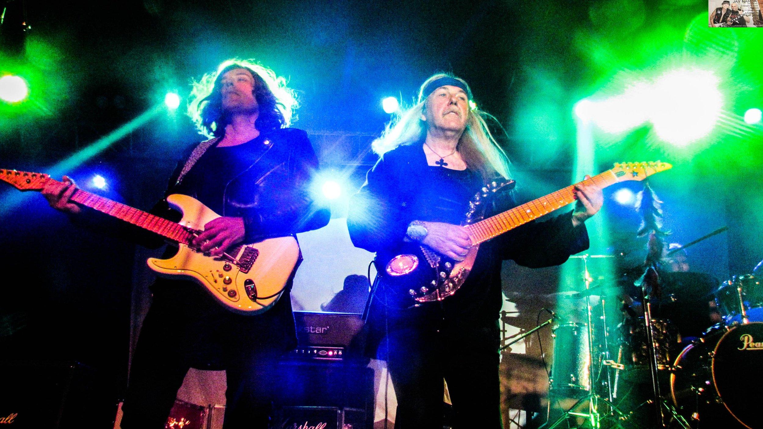Uli Jon Roth (right), with guitarist David Klosinski, returned to the Rock Box on Friday night for his triple anniversary tour.