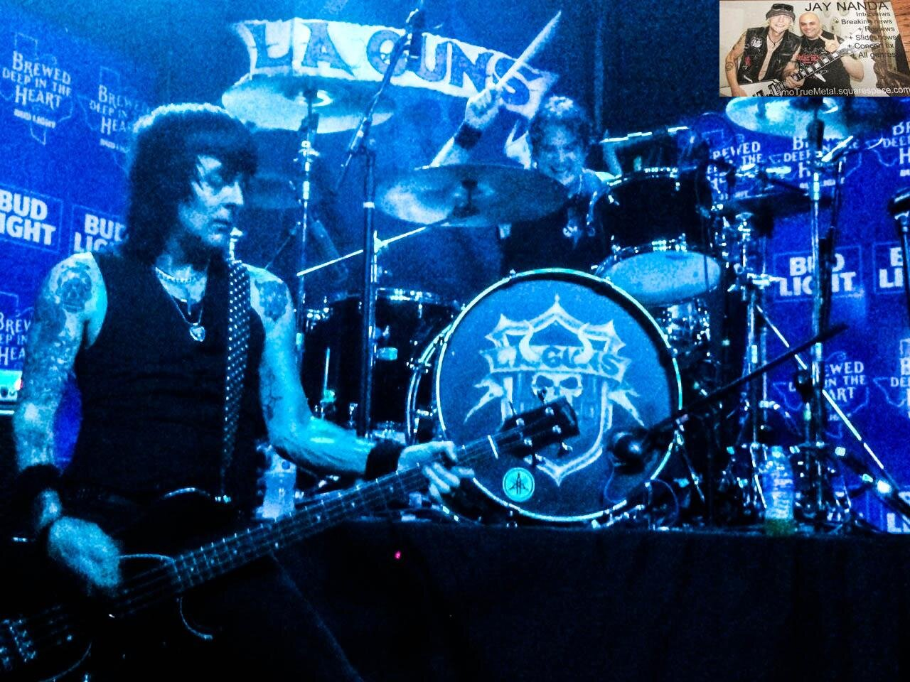 L.A. Guns bassist Johnny Martin and drummer Scot Coogan rock out on a classic tune Saturday night at Quatemain's Pub in Live Oak.