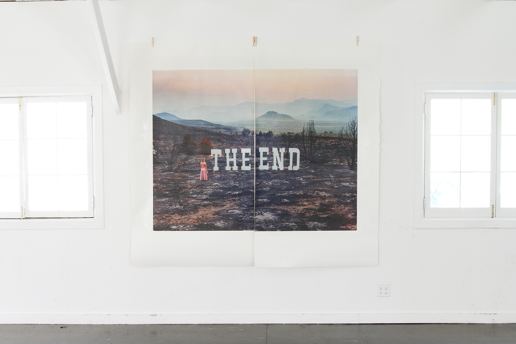 """Cheat Grass — After The End , two unique transfer prints, 80x88,"""" installed in San Francisco, 2018"""
