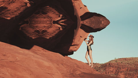 Hot bikini model in the australian desert - Surf dive & ski Red Ocean Mystics film production, director of photography Toby Heslop