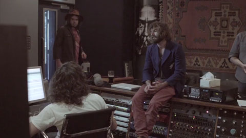 Angus Stone and band in the recording Studio - Angus Stone Guiness Arthur's Day Film production Toby heslop