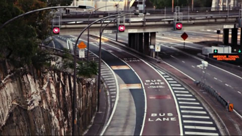 Empty roads on the sydney harbour highway - Channel [V] - Rhianna Invades Video Broadcast Promo