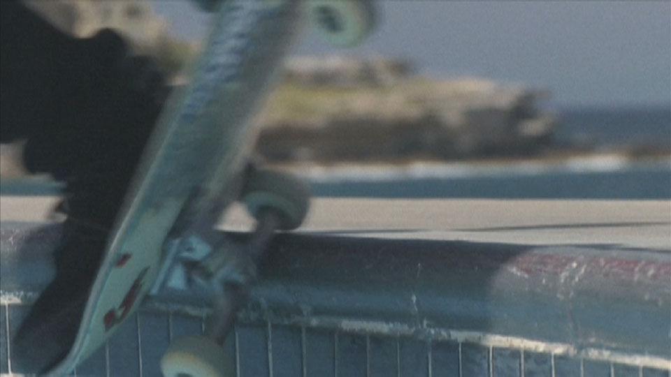 Grinding the lip at Bondi bowl - Bondi Bowlarama Television production - Lighting Cameraman Toby Heslop