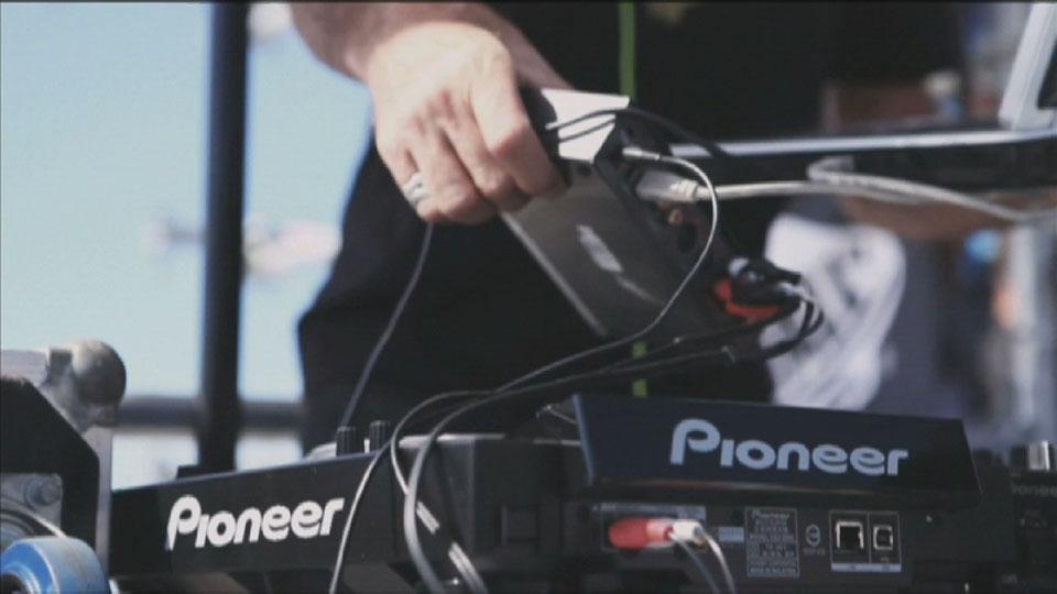 DJ on the decks - Bondi Bowlarama Television production - Lighting Cameraman Toby Heslop