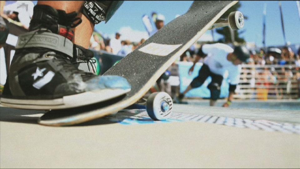 Skateboards on the deck - Bondi Bowlarama Television production - Lighting Cameraman Toby Heslop
