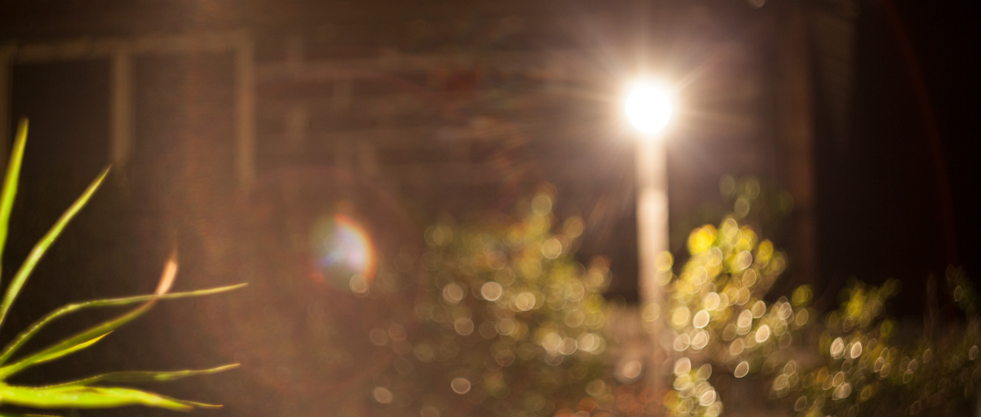 SWIRLING OUT OF FOCUS BOKEH & RAINBOW FLARE HIGHLIGHTS FROM A BACKYARD FLOODLIGHT SOURCE.