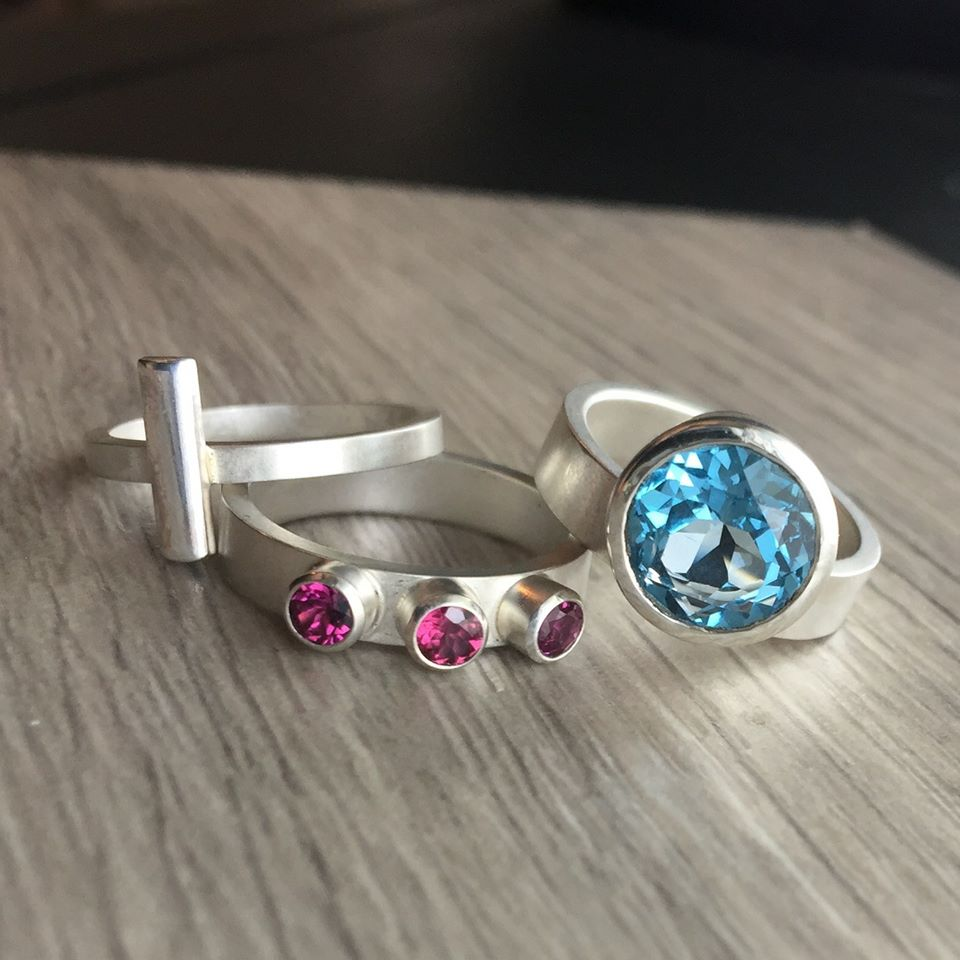 Sterling, Blue Topaz & Rhodolite Garnet stacking ring