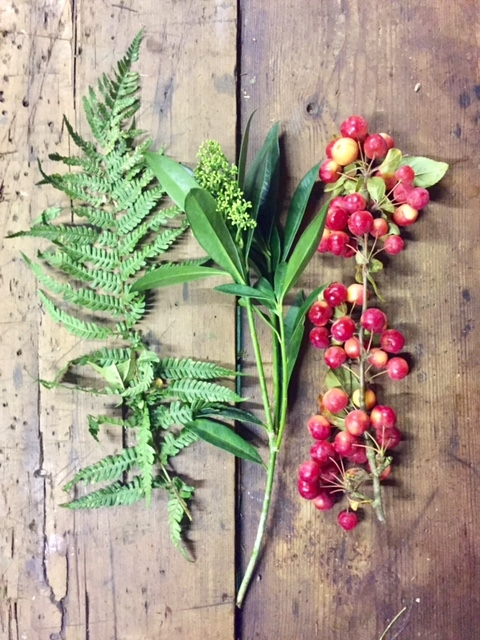 Fern, skimmia and crab apples.