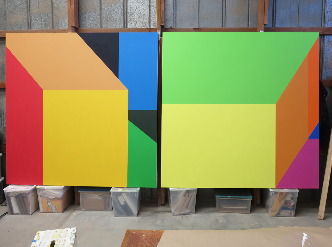 Scene 153  in the studio, acrylic on canvas, diptych, each canvas 6x6'