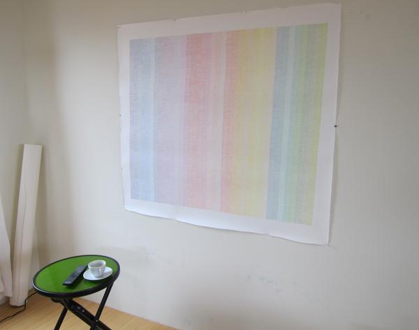 "Centimeter 19: Lean  in the studio. Prismacolor on paper, 38x46"""