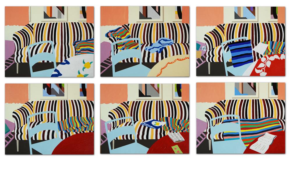 """Timelapse, Comfort Texas, 1982 . Acrylic on panel, 6 panels, each 9 x 12""""."""