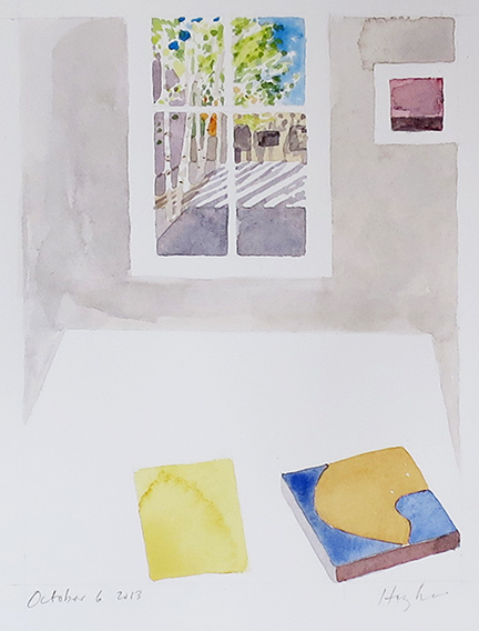 "Timelapse, Lannan Apartment A, 6 October 2013 . Watercolor, 6 x 4""."