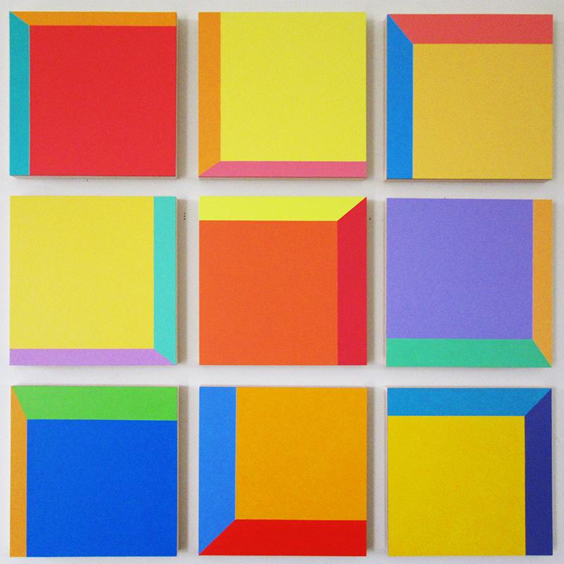 """Setup 8 . Acrylic on panel, 9 panels. Each panel 8 x 8"""", 26 x 26"""" overall."""