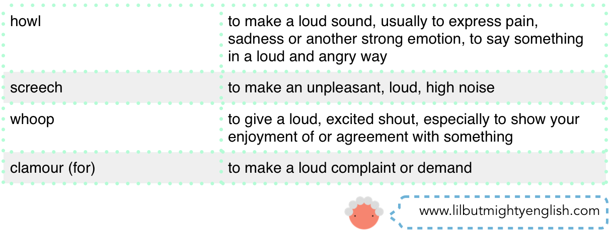 Four Synonyms of Shout