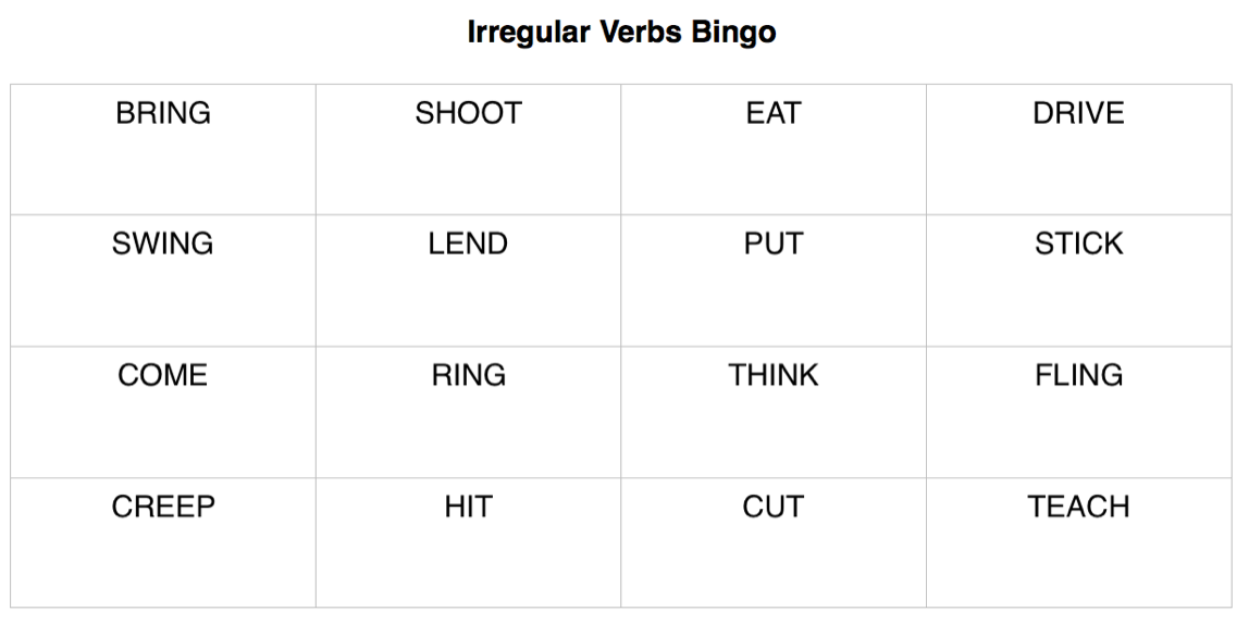 Lil' but Mighty Irregular Verbs Bingo