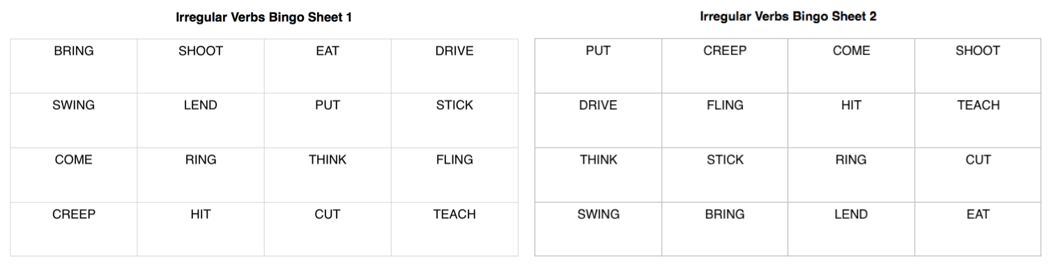 Irregular Verbs Bingo Variation