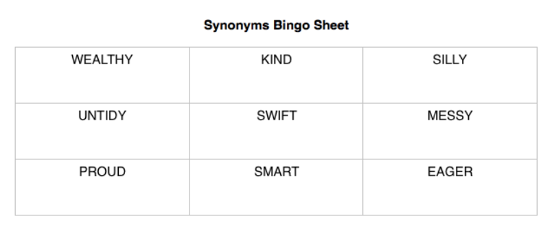 Lil' but Mighty Synonyms Bingo Sheet