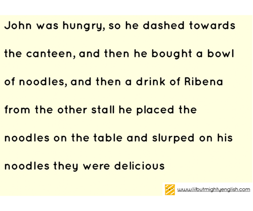 Run-on sentences by primary school student