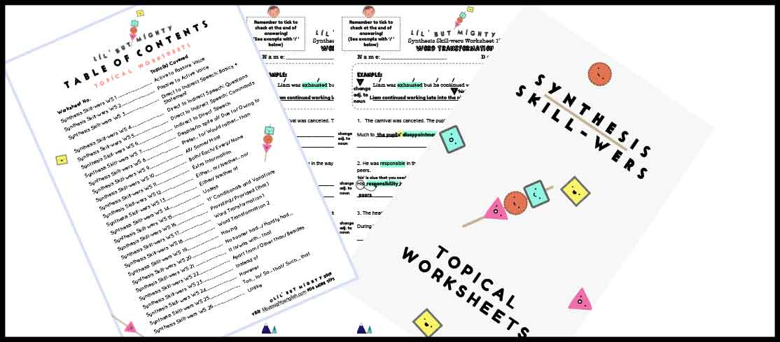 Synthesis Skill-wers Worksheet Samples