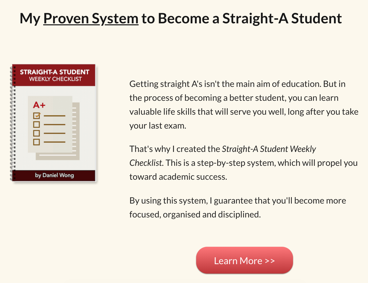 Straight-A Student Weekly Checklist by Daniel Wong