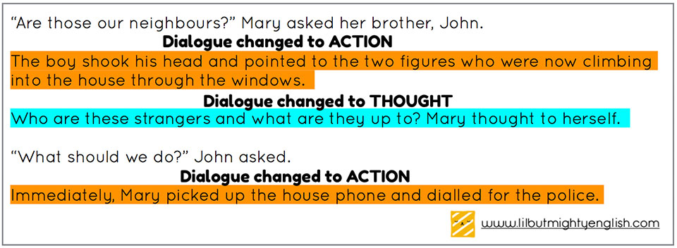 Change some dialogues into actions!