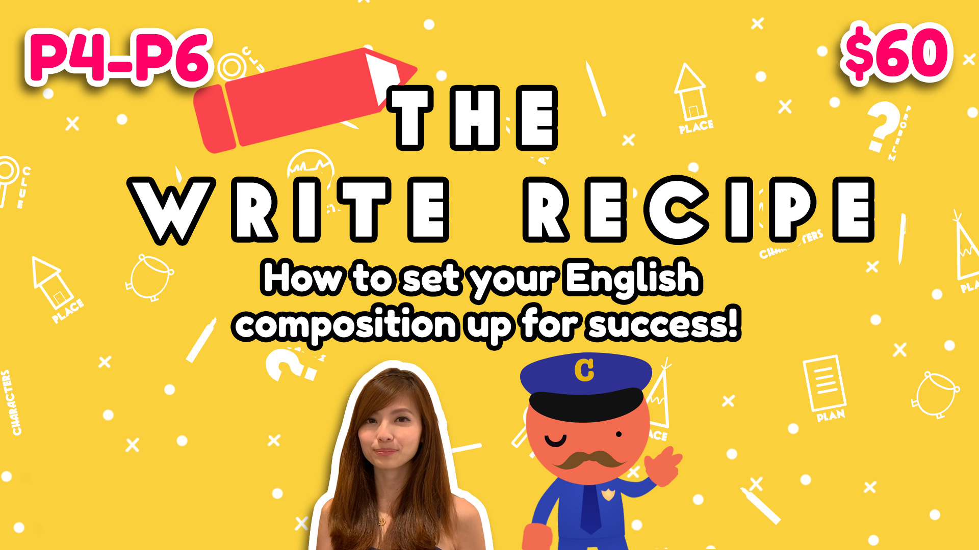 Composition Online Course - 1. Learn about how to plan your writing2. Know the key ingredients to create exciting content during planning3. See the flow of your story with our unique paragraph-by-paragraph structure (New!)4. Application to questions with the PSLE format