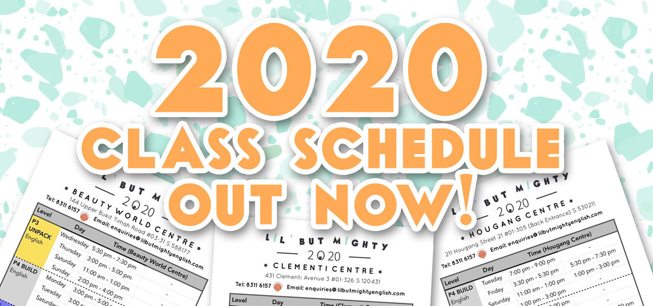 2020 Primary English Class Schedule is out!