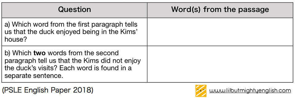 Vocabulary in a Table   Primary School Comprehension