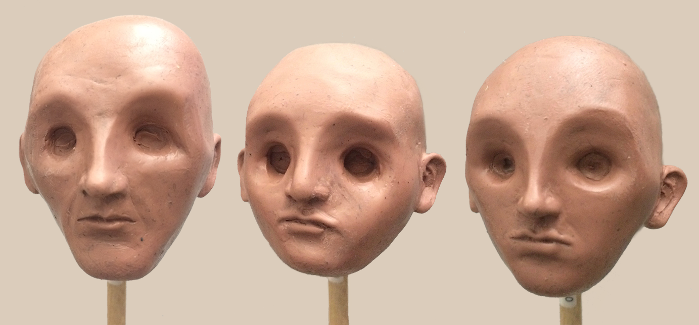 Final face sculpts.  Dad's mustache is coming back, in real hair!